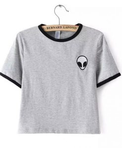 Alien logo Grey Ringer T shirt