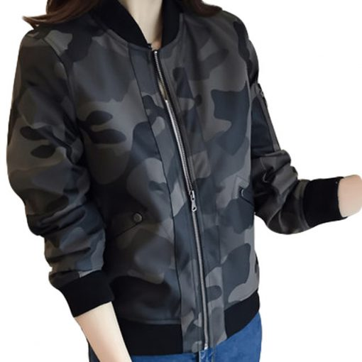 Women's Loose Military Camouflage Camo Jacket