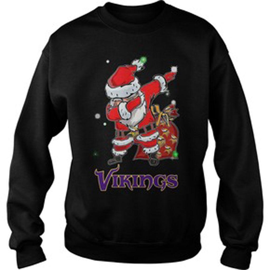 new product c3bc0 5a2bb Santa Minnesota Vikings Dabbing Christmas ugly Sweatshirt